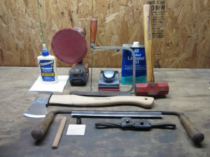 Prepping for re-handling an axe