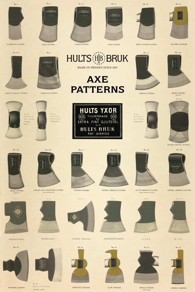 Hults Bruk Historic Swedish Axe Patterns - different axe patterns through out the last hundred years