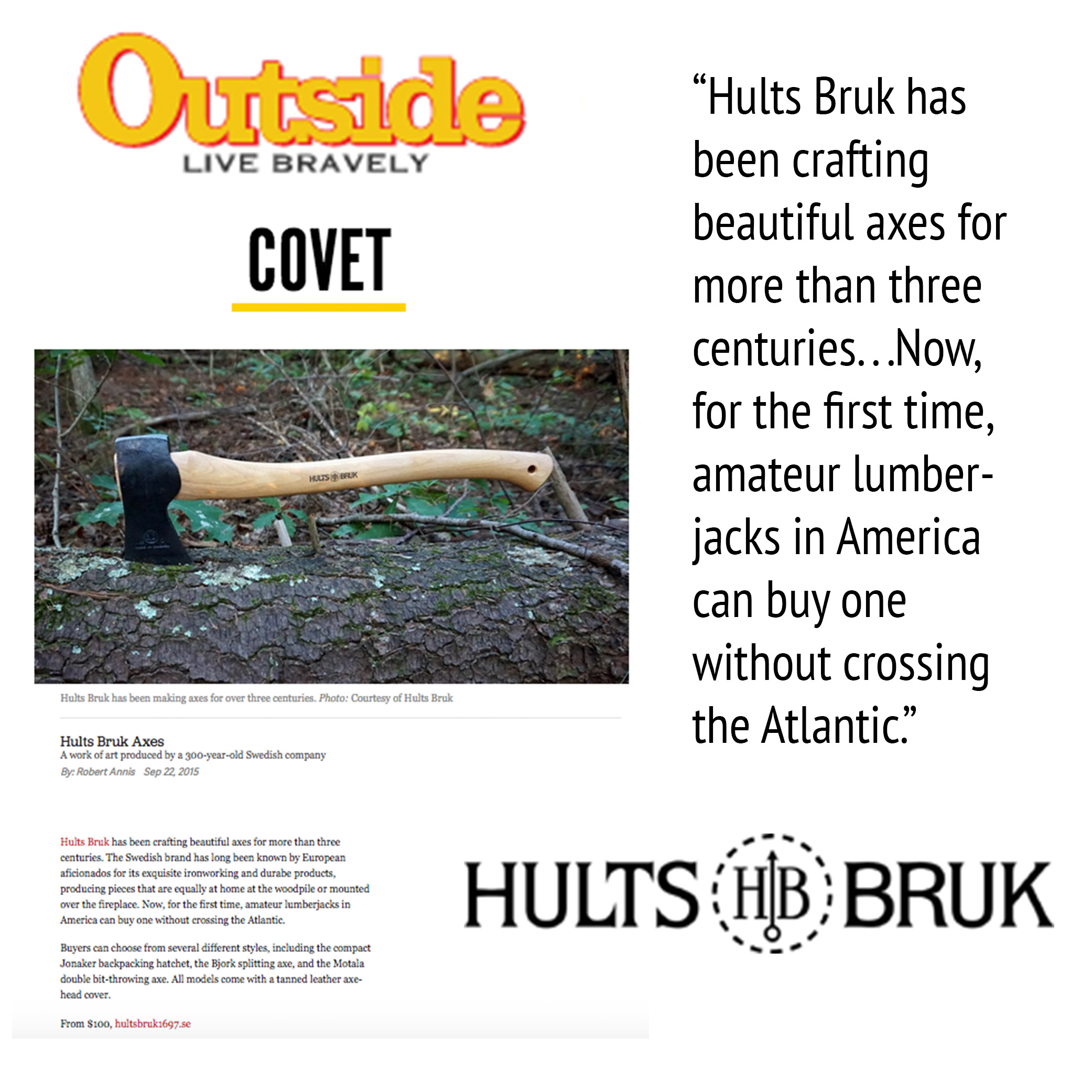 Outside Online is Excited to Buy Hults Bruk Axes in America