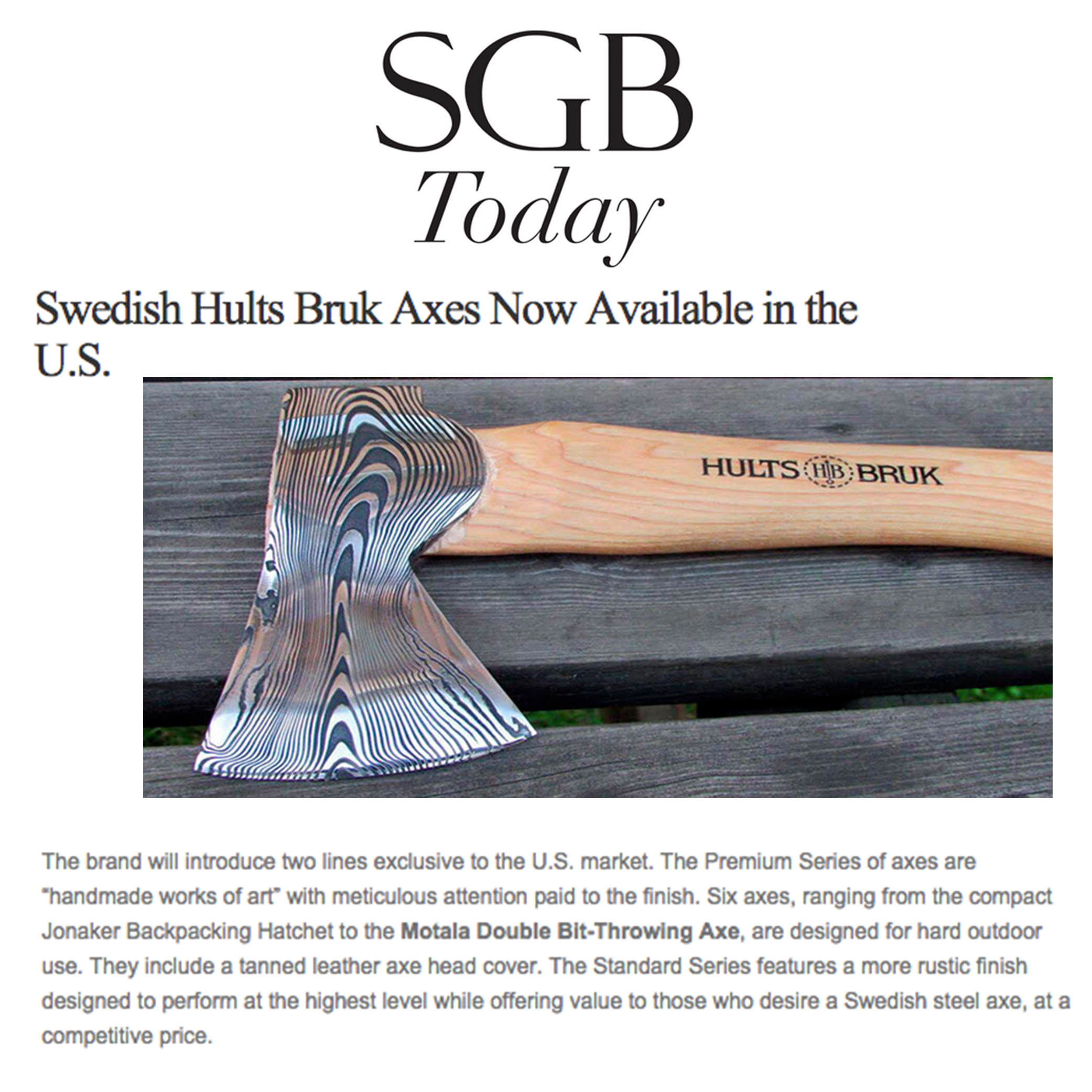 SGB Gears Up for U.S. Release of Hults Bruk Axes