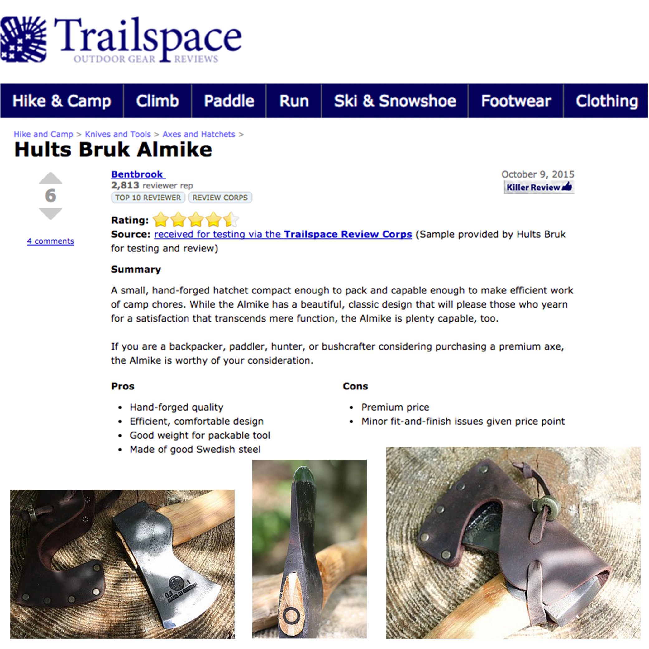 Trailspace Praises the Hults Bruk Almike for its Capability