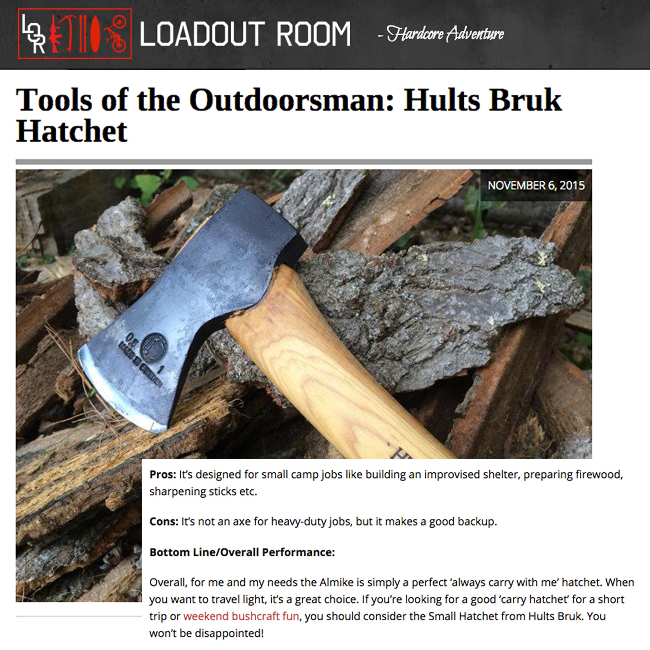"""The Loadout Room calls the Hults Bruk Almike Hatchet """"a great choice"""""""